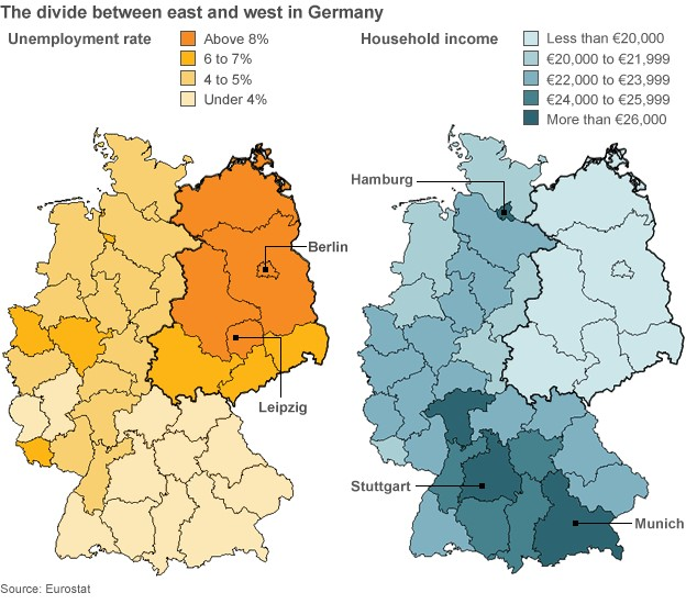Map Of East And West Germany With Cities.Germany The Human Imprint